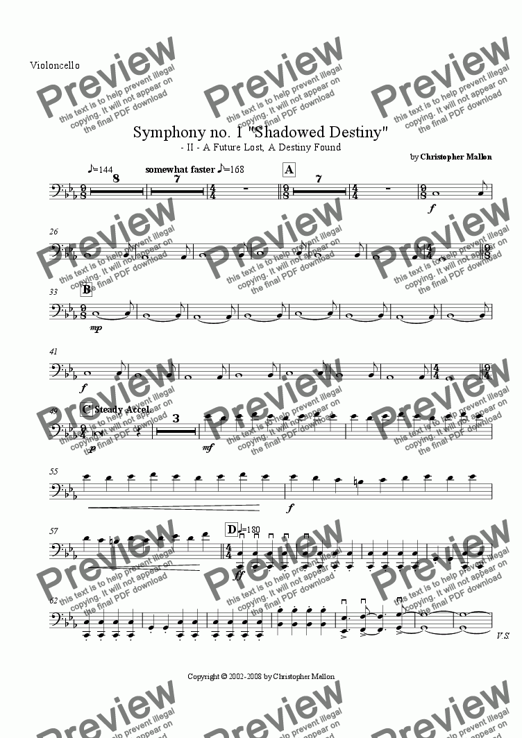 "page one of the Violoncello part from ""Shadowed Destiny"" - Symphony no. 1 - II"