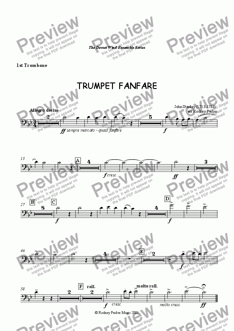 page one of the 1st Trombone part from Trumpet Fanfare
