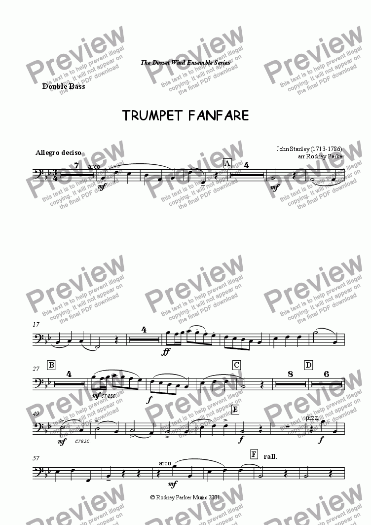 page one of the Double Bass part from Trumpet Fanfare
