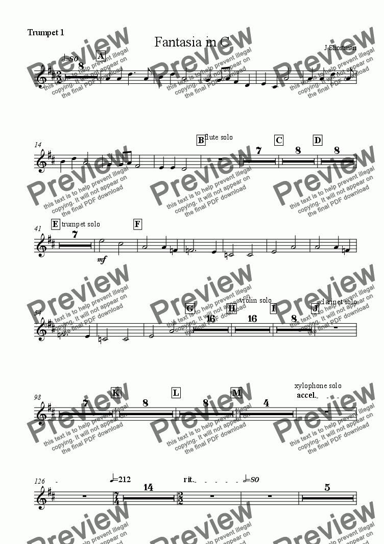 page one of the Trumpet 1 part from Fantasia in C (arranged for training orchestra & six Grade 8+ soloists)