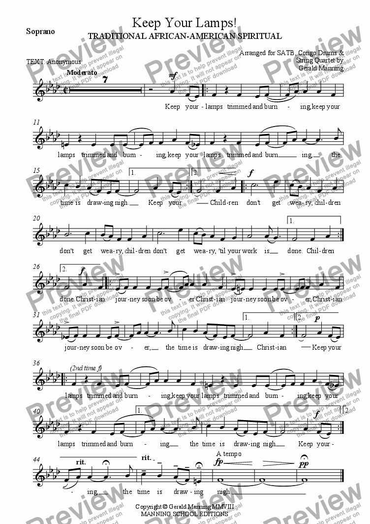 page one of the Soprano part from African-American Spirituals - Keep Your Lamps! - arranged for SATB, Conga Drums and String Quartet by Gerald Manning