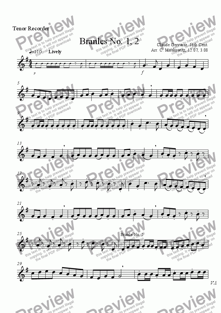 page one of the tenor  recorder part from Branles No. 1, 2