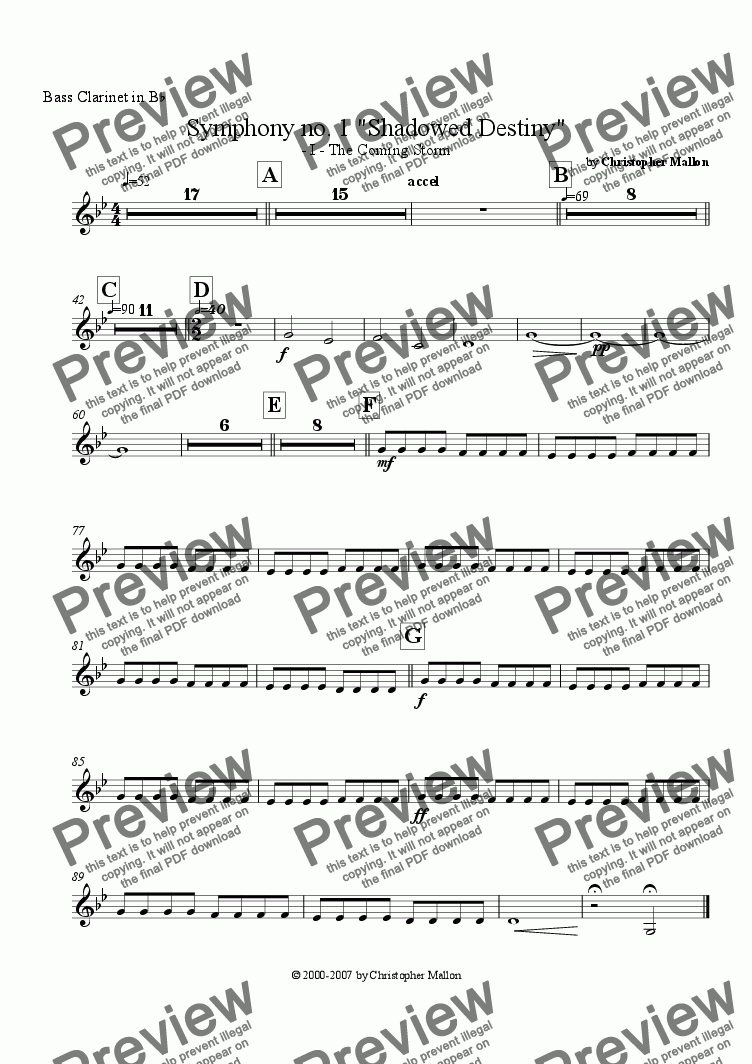 "page one of the Bass Clarinet part from ""Shadowed Destiny"" - Symphony no. 1 - I"