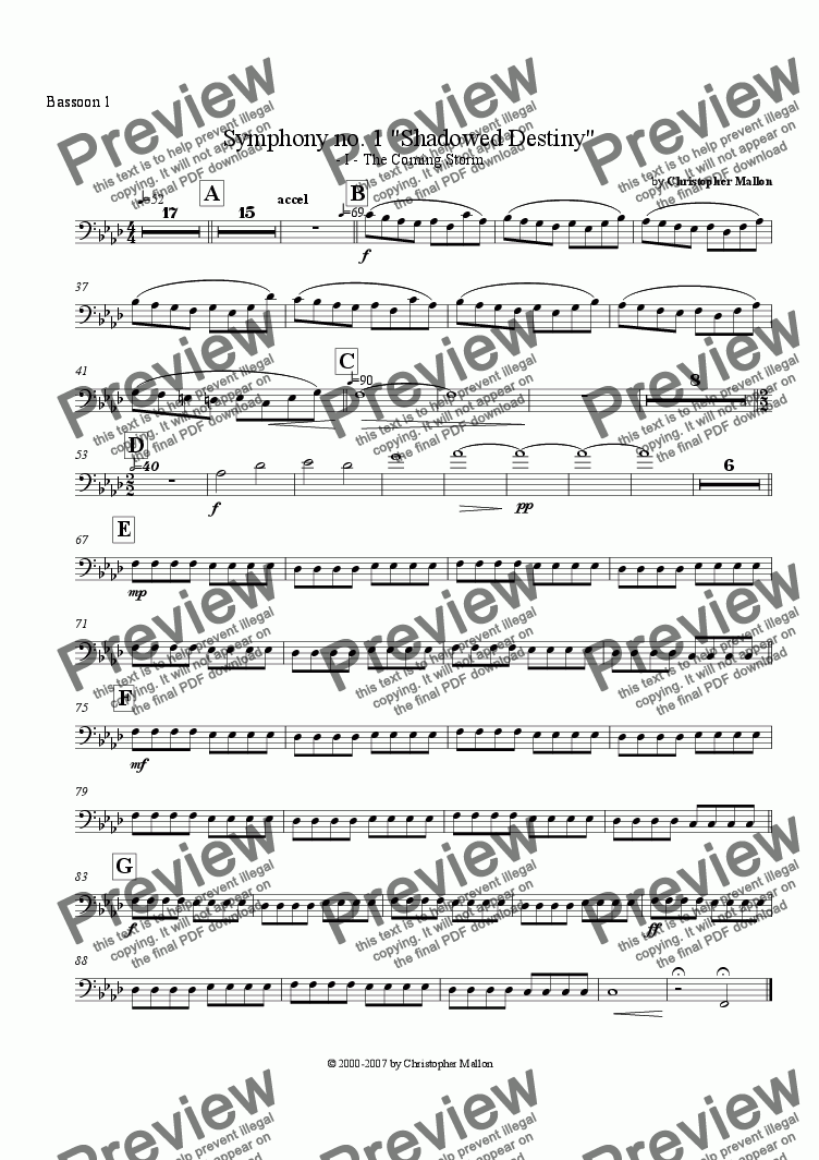 "page one of the Bassoon 1 part from ""Shadowed Destiny"" - Symphony no. 1 - I"