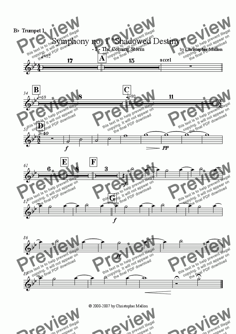 "page one of the Trumpet 1 part from ""Shadowed Destiny"" - Symphony no. 1 - I"