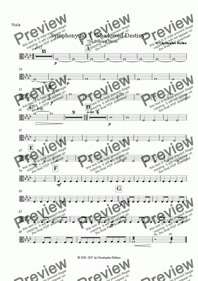 "page one of the Viola part from ""Shadowed Destiny"" - Symphony no. 1 - I"