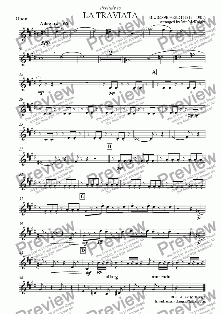 page one of the Oboe part from Prelude to La Traviata