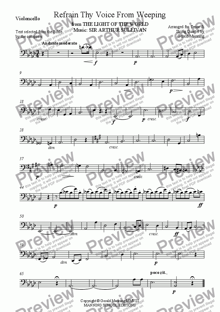 page one of the Violoncello part from Reliquary of Sacred Music - Sullivan, A. - Refrain Thy Voice From Weeping from The Light of the World - arranged for Tenor & String Quartet by Gerald Manning