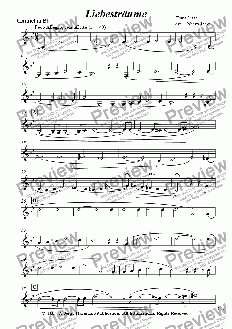 page one of the Clarinet in Bb part from Liebestraume   (Clarinet and Piano)
