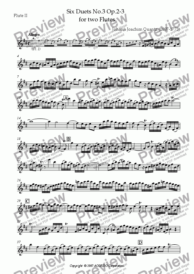 page one of the Flute II part from Six Duets No.3 Op.2-3 for two Flutes