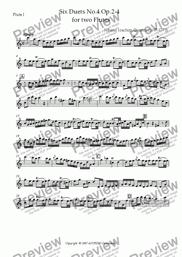 page one of the Flute I part from Six Duets No.4 Op.2-4 for two Flutes