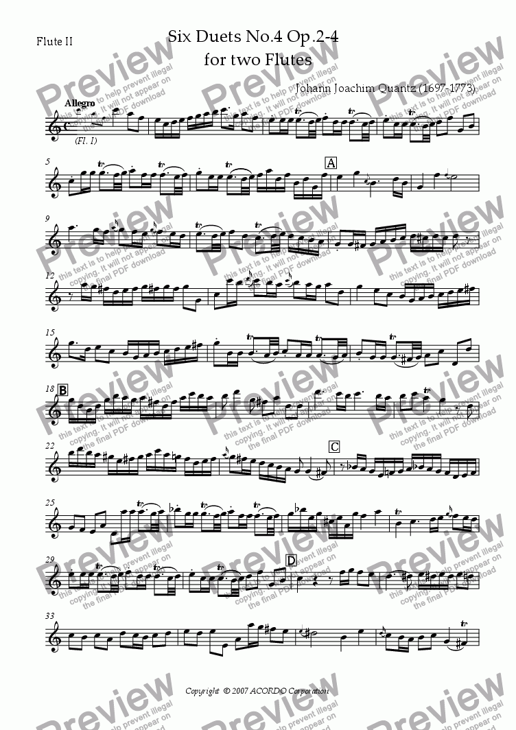 page one of the Flute II part from Six Duets No.4 Op.2-4 for two Flutes
