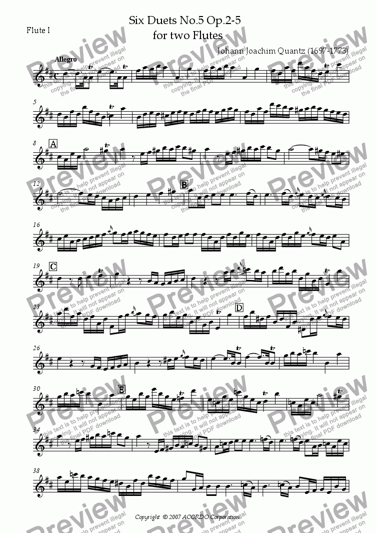 page one of the Flute I part from Six Duets No.5 Op.2-5 for two Flutes