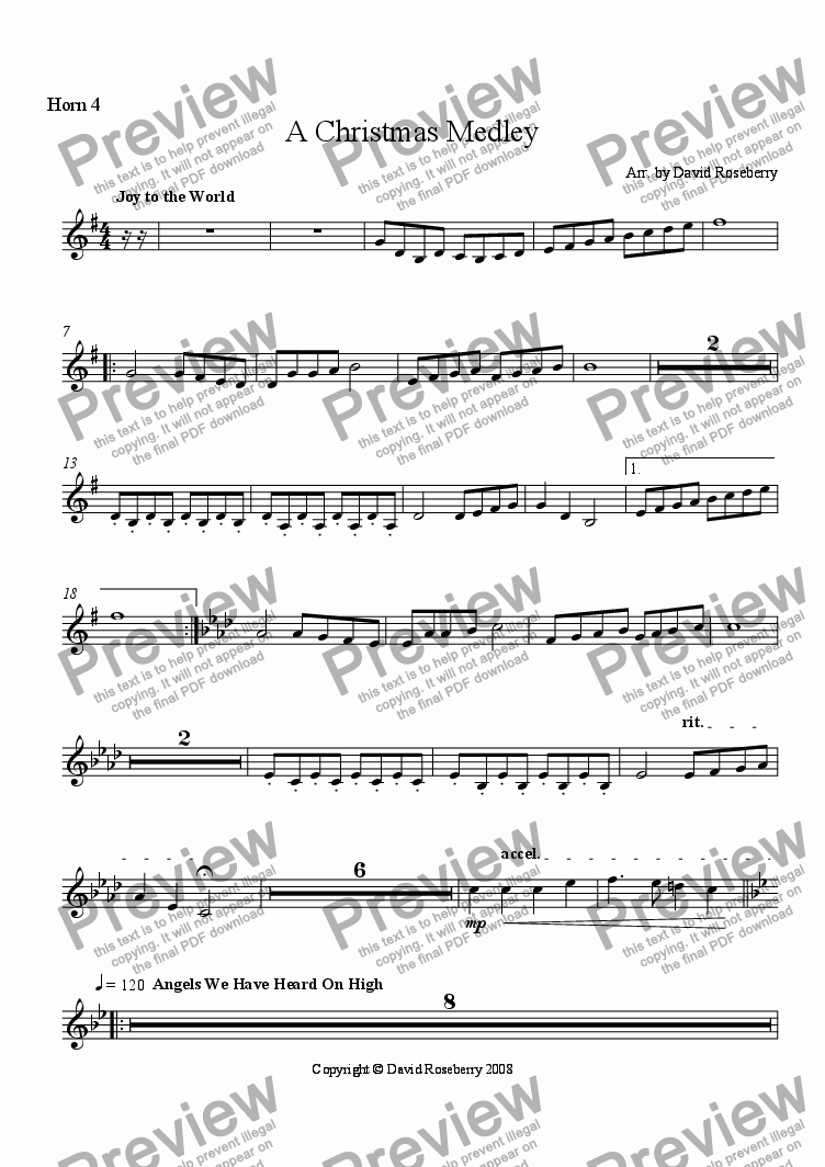 page one of the Horn 4 part from A Christmas Medley