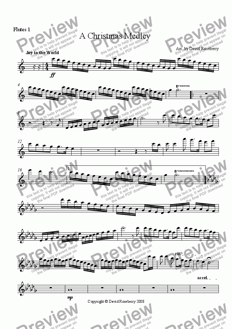 page one of the Flute 1 part from A Christmas Medley