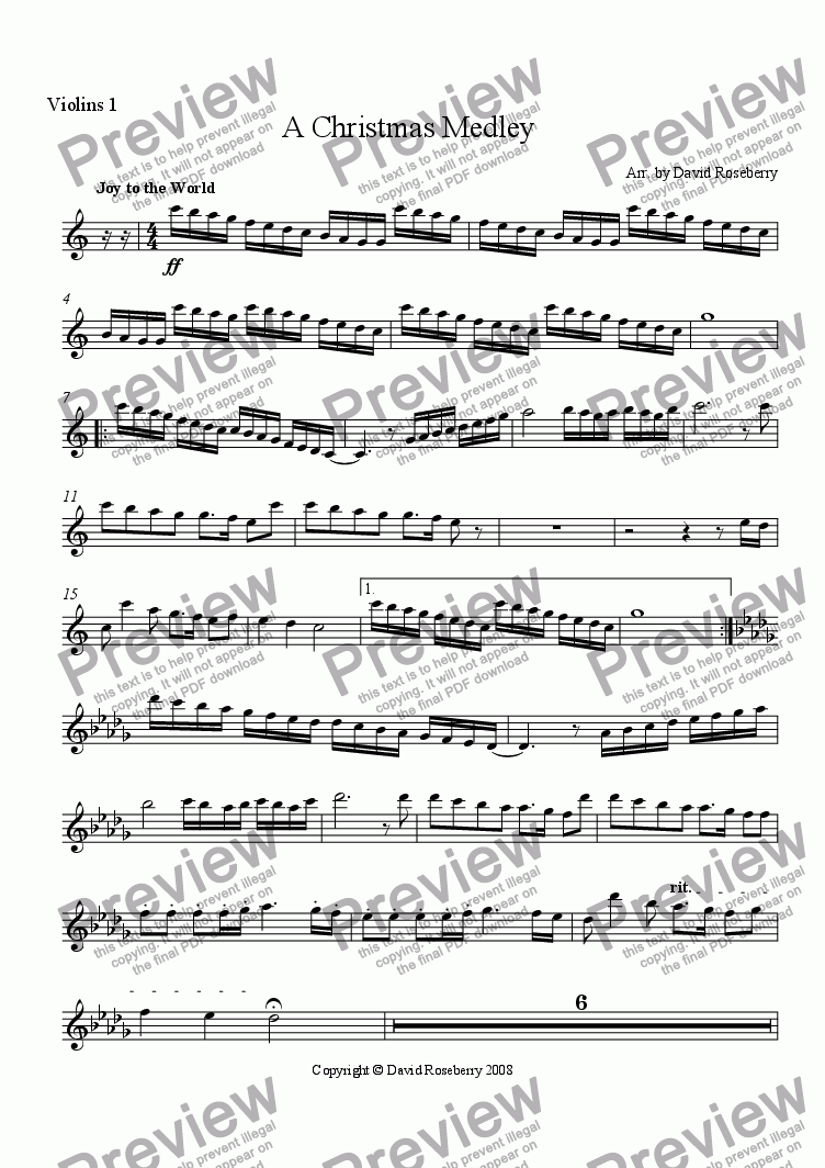 page one of the Violin 1 part from A Christmas Medley