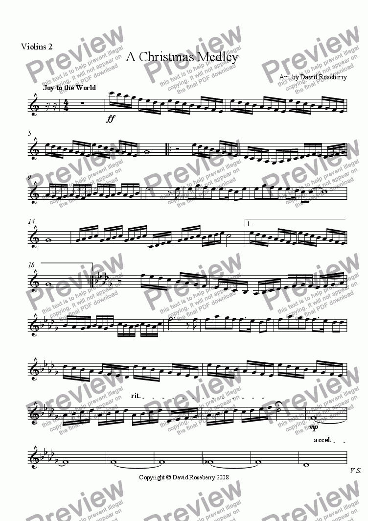 page one of the Violin 2 part from A Christmas Medley