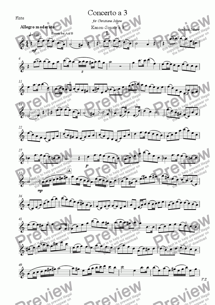 page one of the Fl part from Concerto a 3 Vl/Vla/Vlc/Fl/Cl B (Round 1)