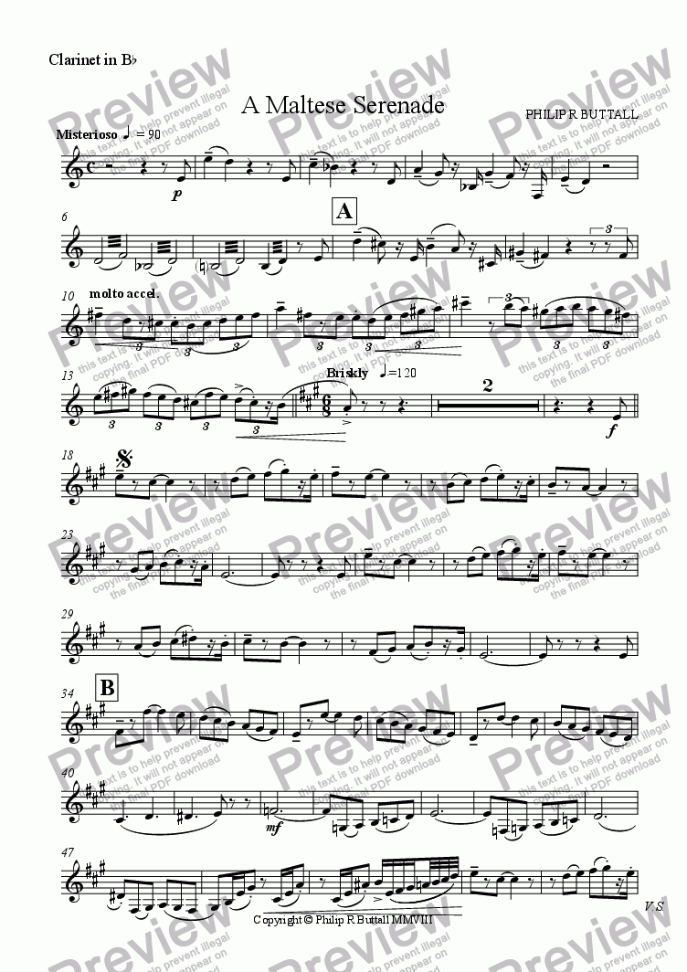 page one of the Clarinet in Bb part from A Maltese Serenade