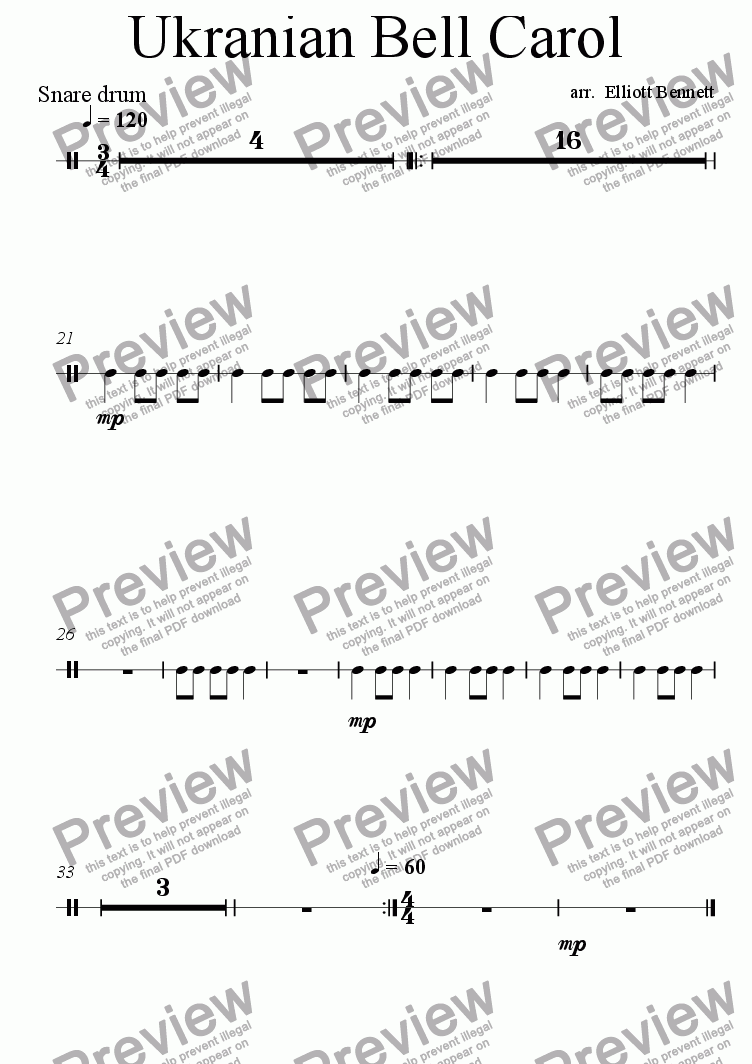 page one of the Snare Drum part from Ukranian Bell Carol