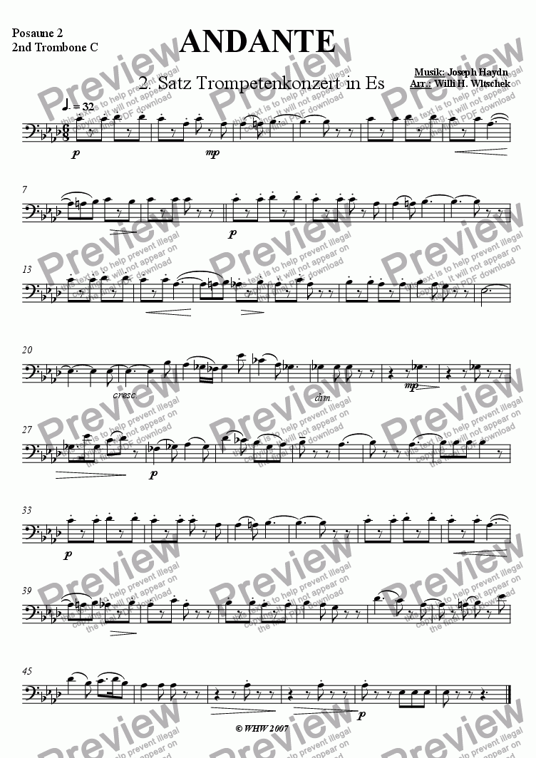 page one of the 2ndTrombone part from 2nd Movement from Haydn�sTrumpet Concert - Andante