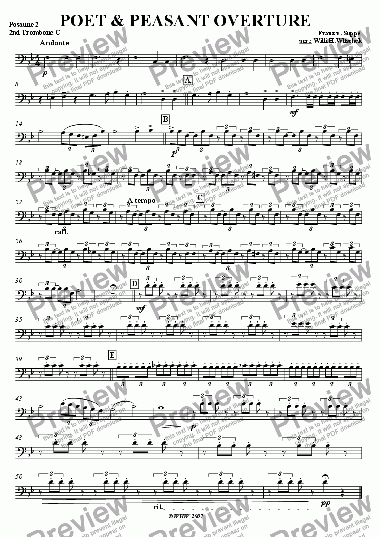 page one of the 2nd Trombone ( subst. Horn in F2 ) part from Poet and Peasant Overture