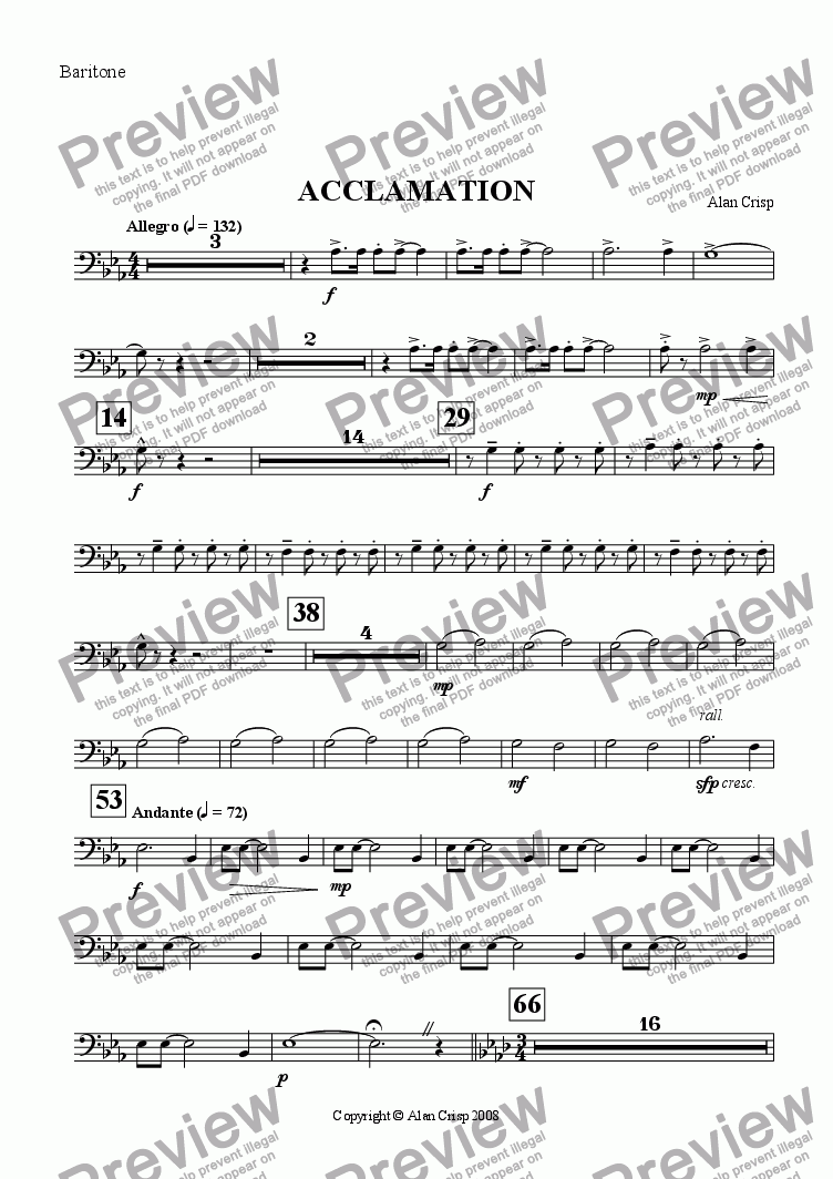 page one of the Baritone part from Acclamation