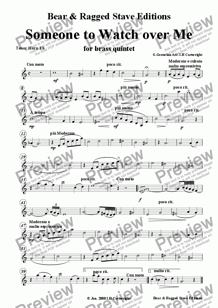 page one of the tenor horn Eb part from Someone to watch over me for Brass quintet
