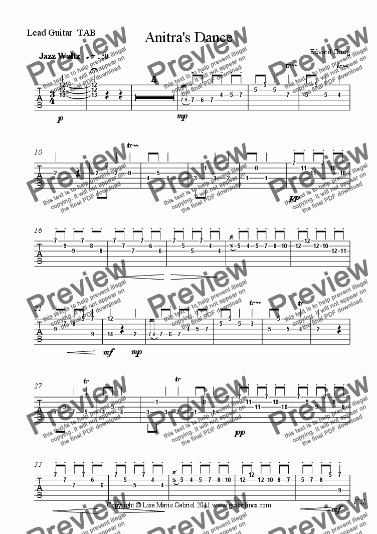 page one of the Lead TAB part from Anitras Dance, Jazz Waltz for Rock Guitar Group and Drums, with TAB.