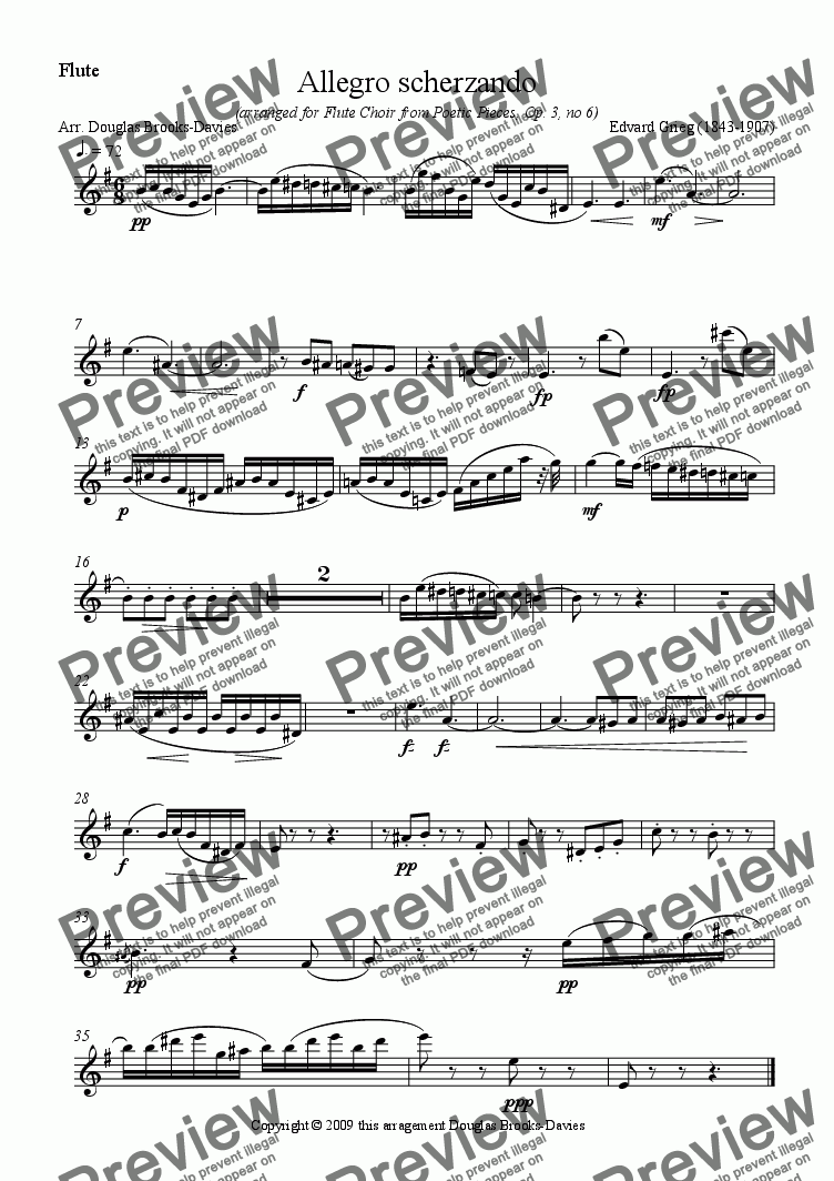 page one of the flute in c part from Grieg: Allegro scherzando (Op.3, no 6) for Flute Choir (2fl, afl, bfl)