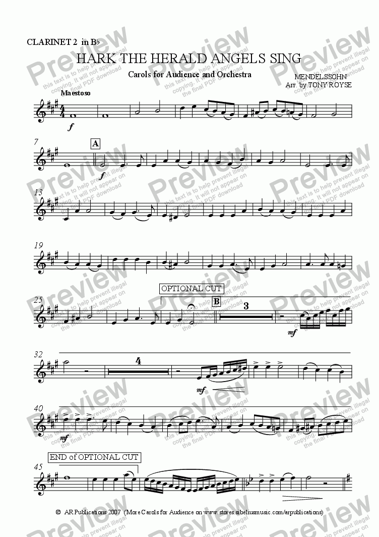 page one of the Clarinet 2 in B flat part from Hark The Herald Angels Sing