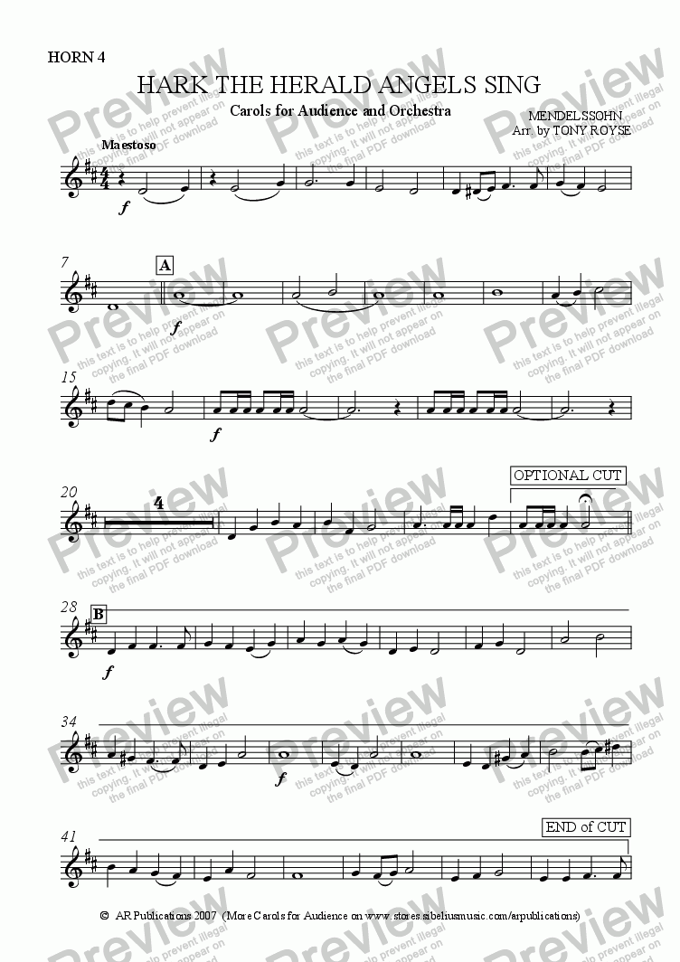page one of the Horn 4 part from Hark The Herald Angels Sing