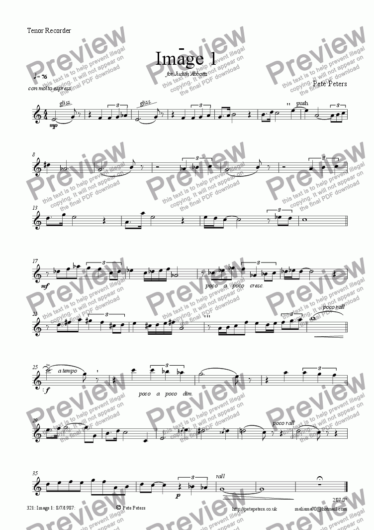 page one of the Tenor Recorder or Flute part from Image 1[flute or recorder version]
