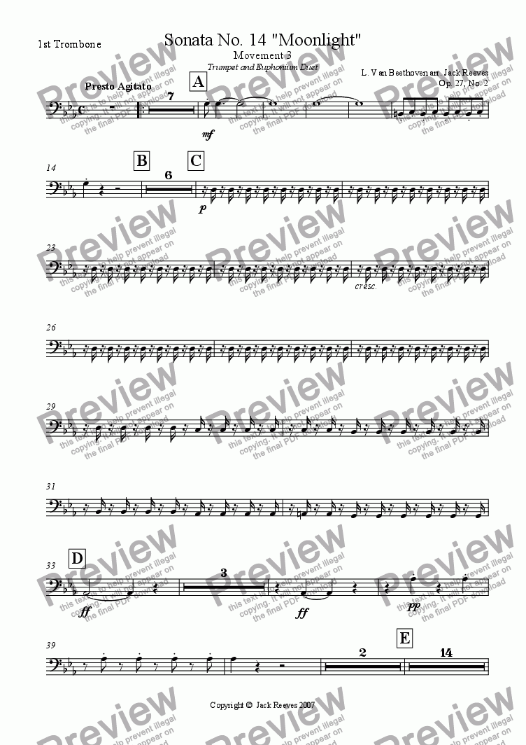 page one of the 1st Trombone part from Moonlight Sonata - 3rd Movement (C Minor) - Wind Band with Trumpet and Euphonium Duet