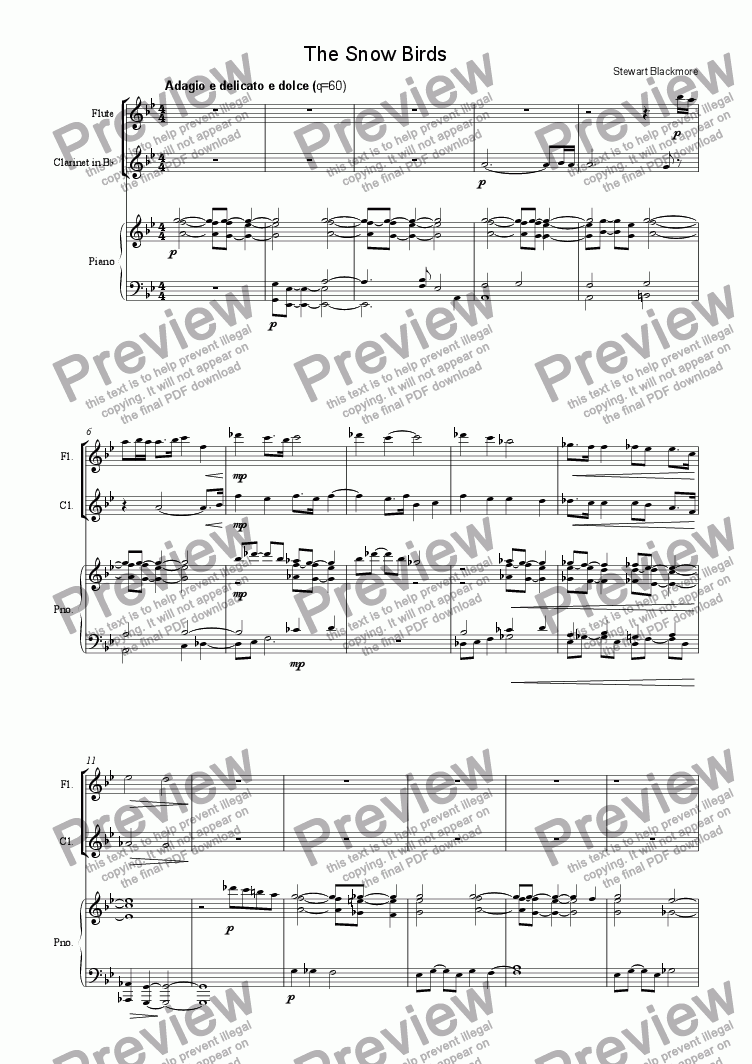 page one of the Flute part from The Snow Birds