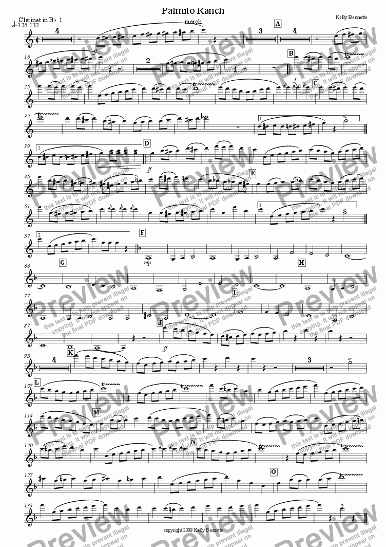page one of the clarinet 1 part from Palmito Ranch march