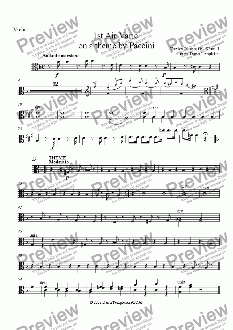 page one of the Viola part from Dancla- Air Varie, Op. 89, #1