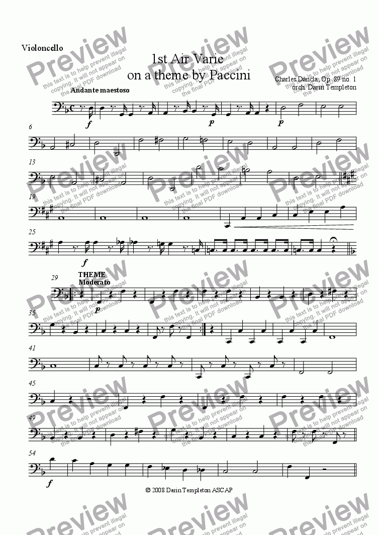 page one of the Violoncello part from Dancla- Air Varie, Op. 89, #1