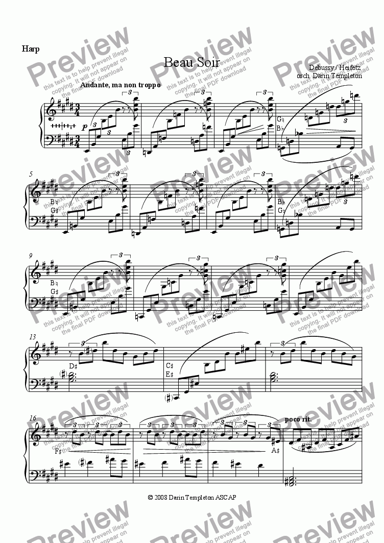 page one of the Harp part from Debussy- Beau Soir