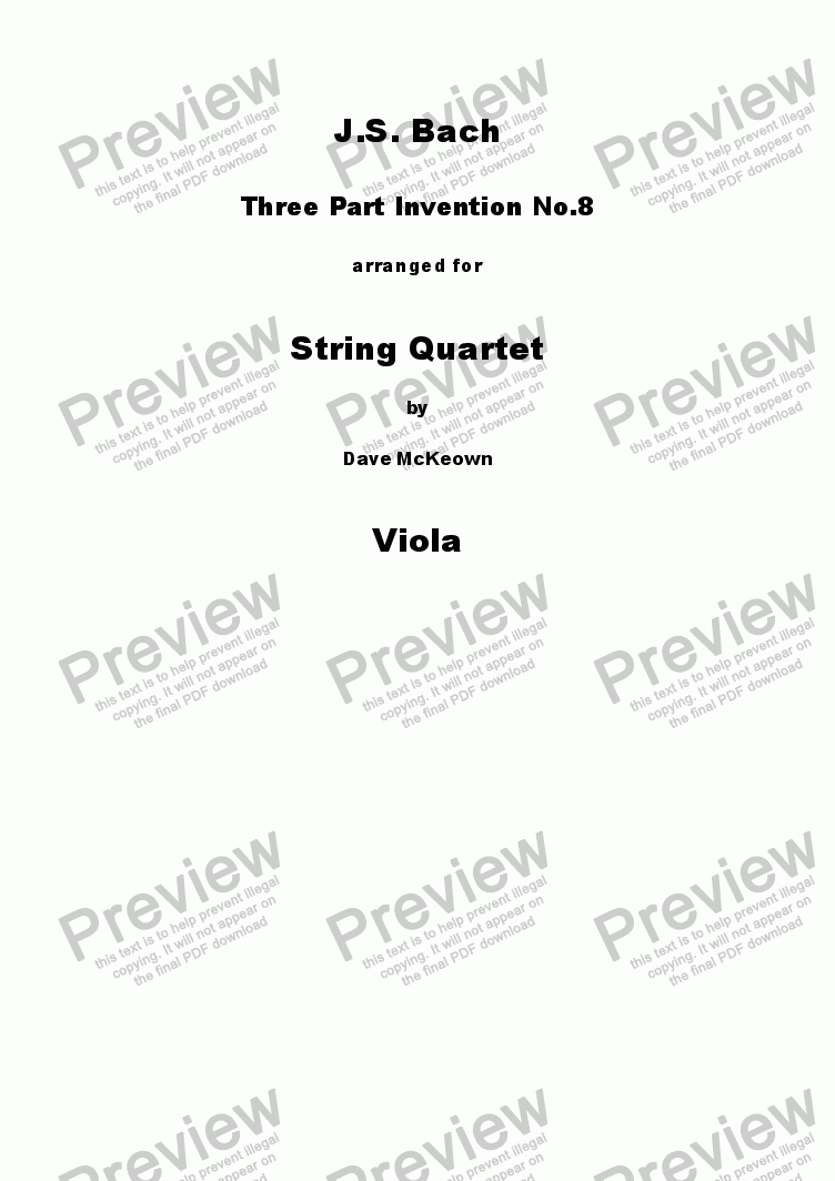 page one of the Viola part from Bach 3 Part Invention no.8 for String Quartet