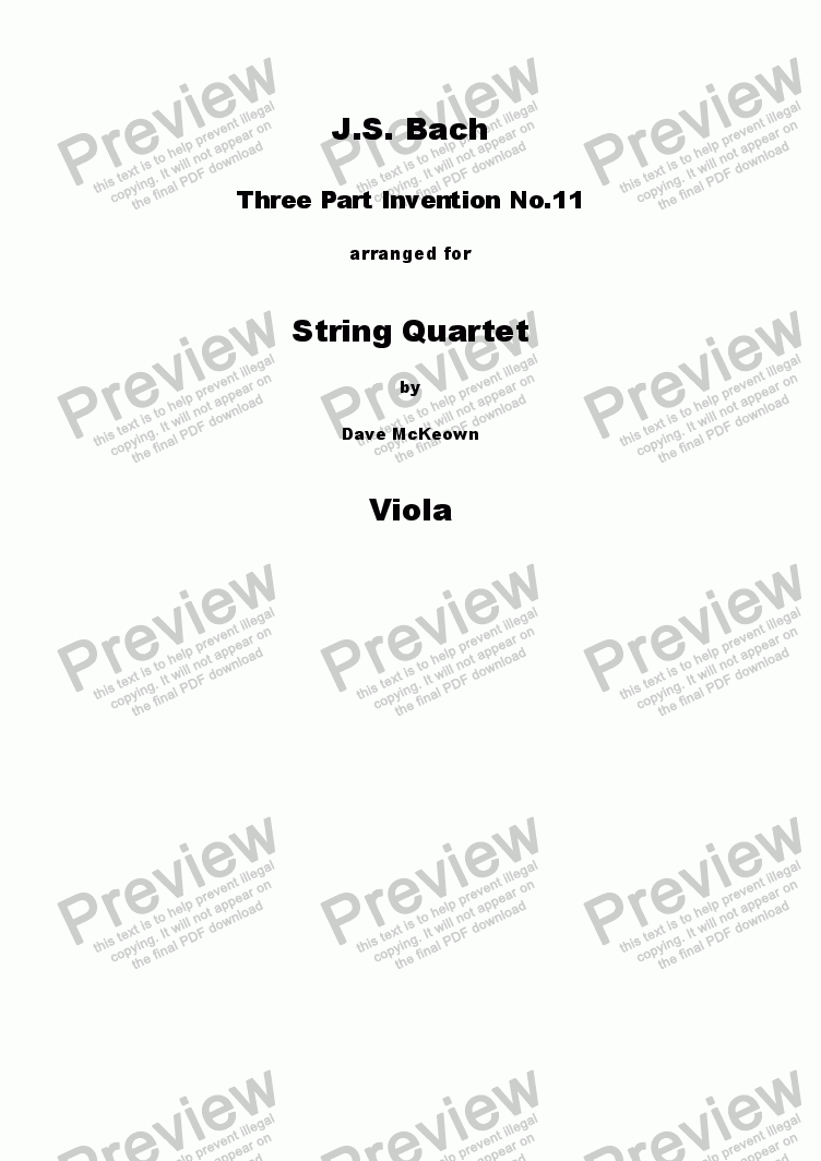 page one of the Viola part from Bach 3 Part Invention no.11 for String Quartet