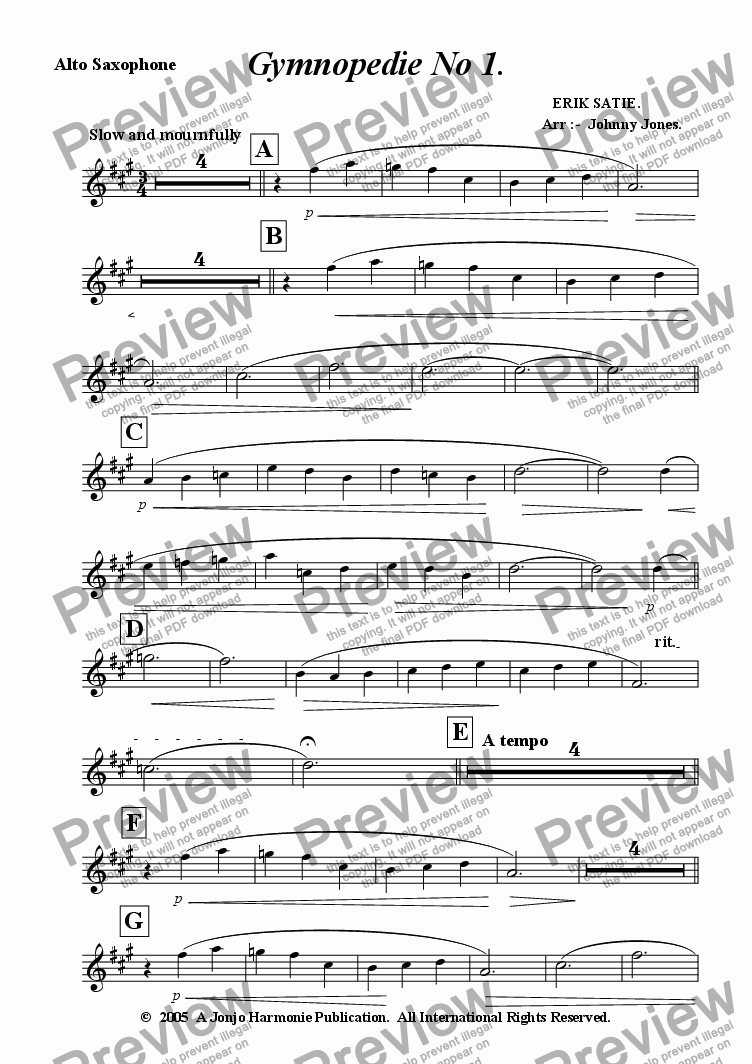 page one of the Alto Saxophone part from Gymnopedie No 1.   (Alto Saxophone and Piano)