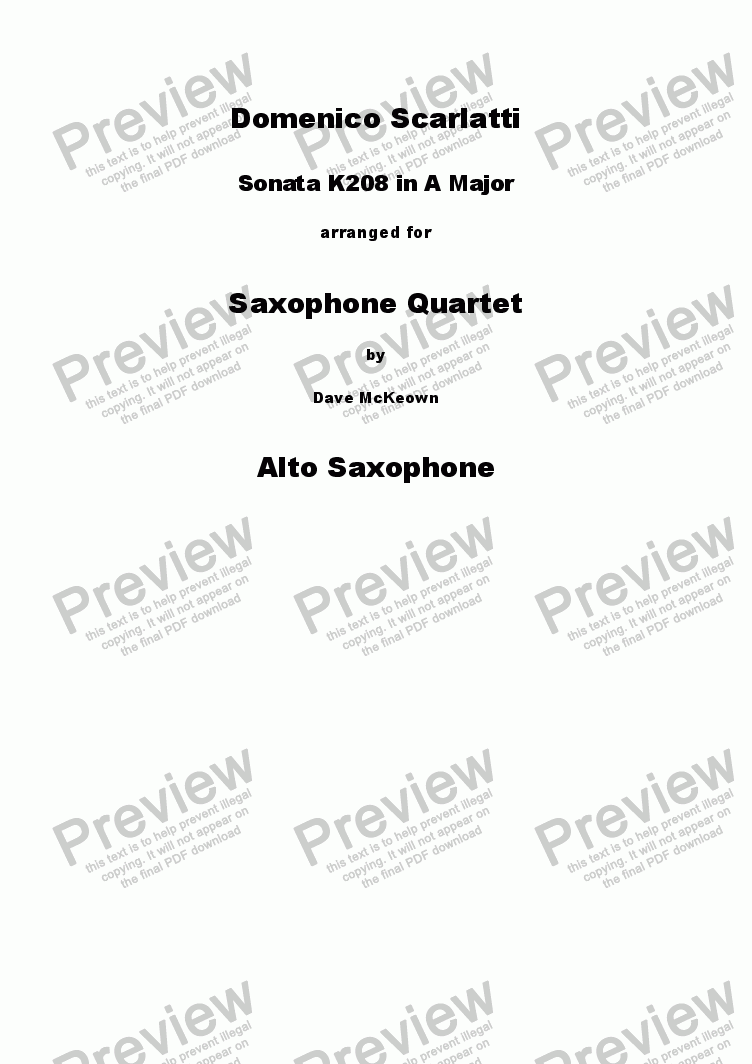 page one of the Alto Saxophone 2 part from Scarlatti Sonata K208 for Saxophone Quartet
