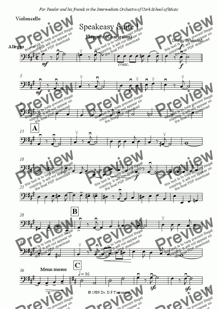 "page one of the Violoncello part from SPEAKEASY SUITE I. ""Flappers"" (Charleston)"
