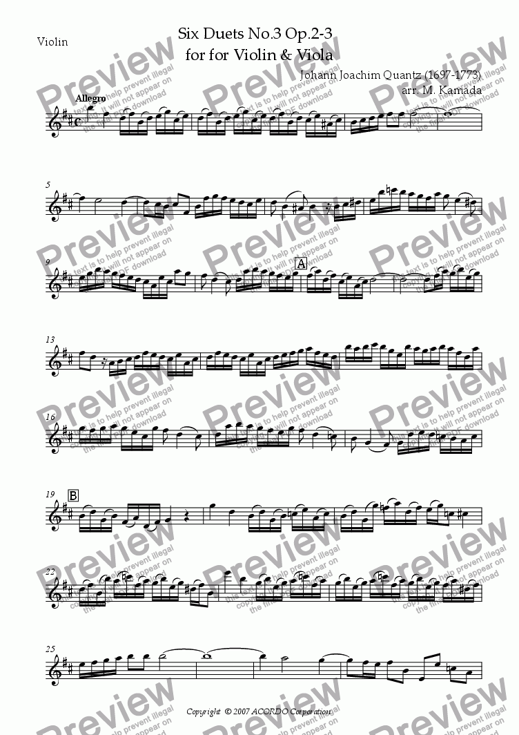 page one of the Violin part from Six Duets No.3 Op.2-3 for Violin & Viola