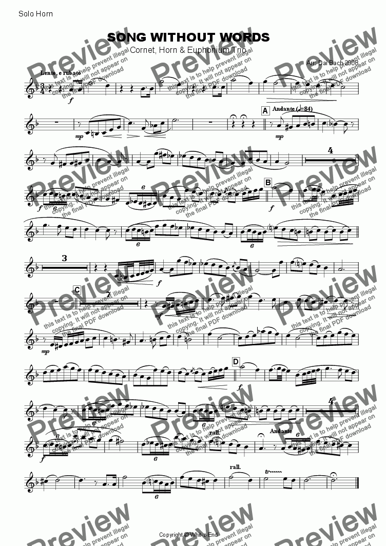 page one of the Solo Horn part from Song without Words (Trio)