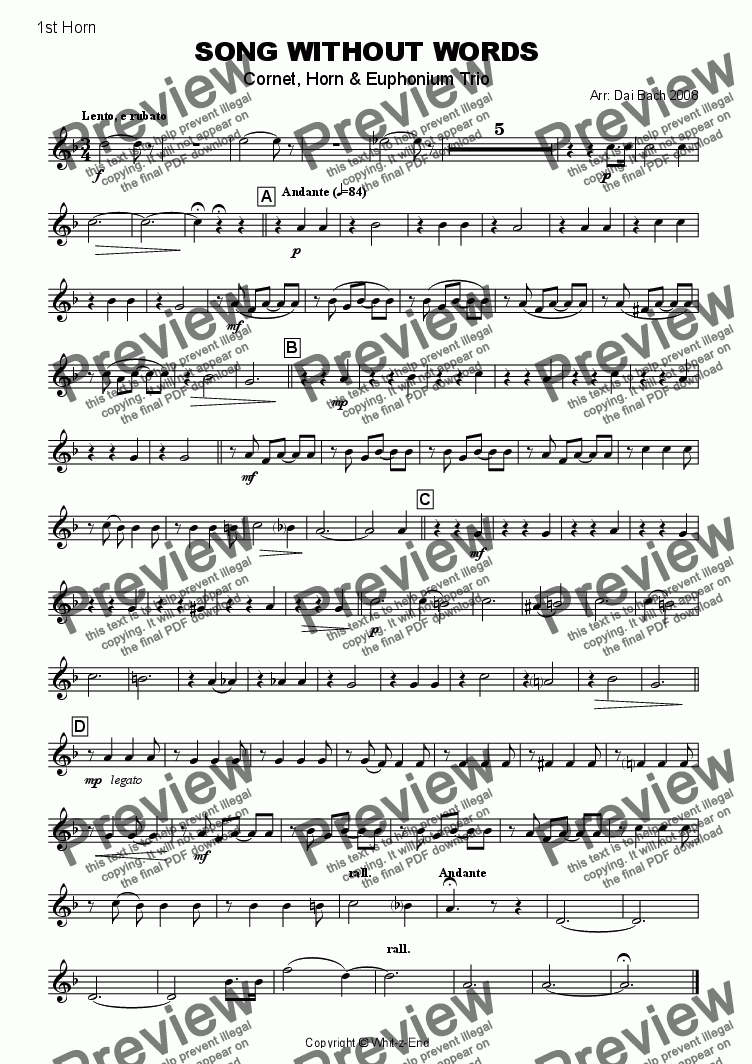 page one of the 1st Horn part from Song without Words (Trio)