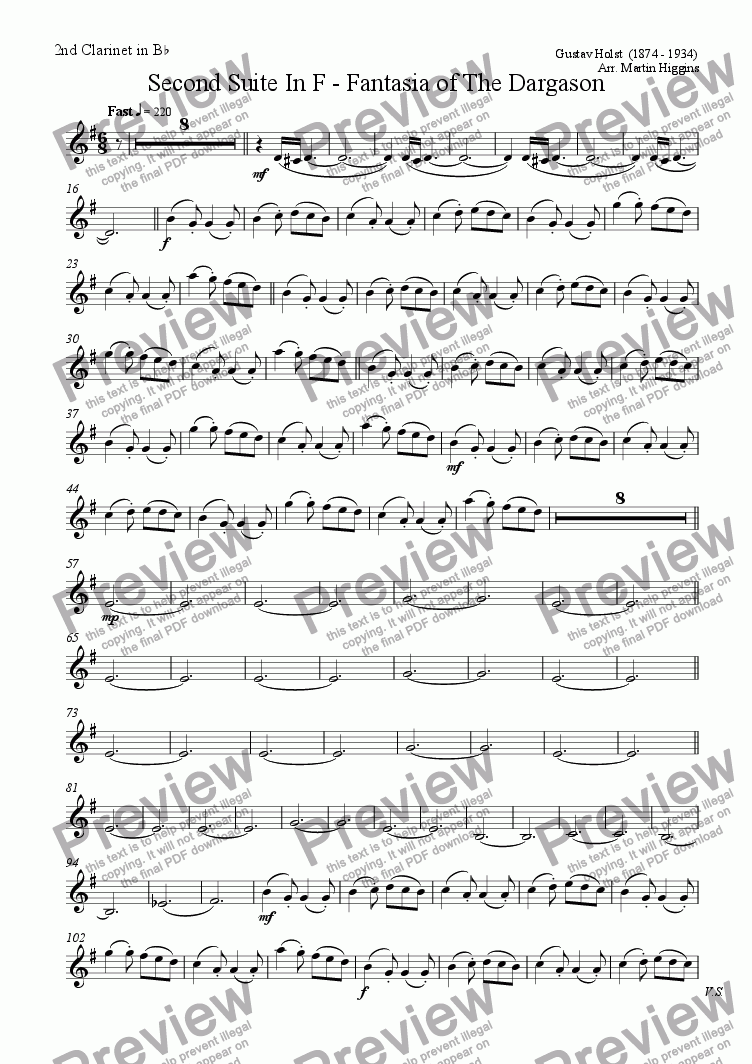 page one of the 2nd Clarinet in Bb part from Fantasia of the Dargason (Clarinet Choir) (2008)