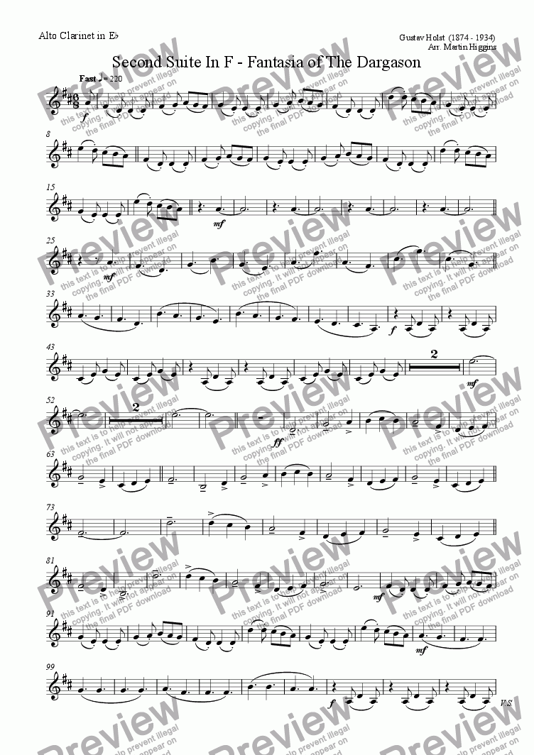 page one of the Alto Clarinet in Eb part from Fantasia of the Dargason (Clarinet Choir) (2008)