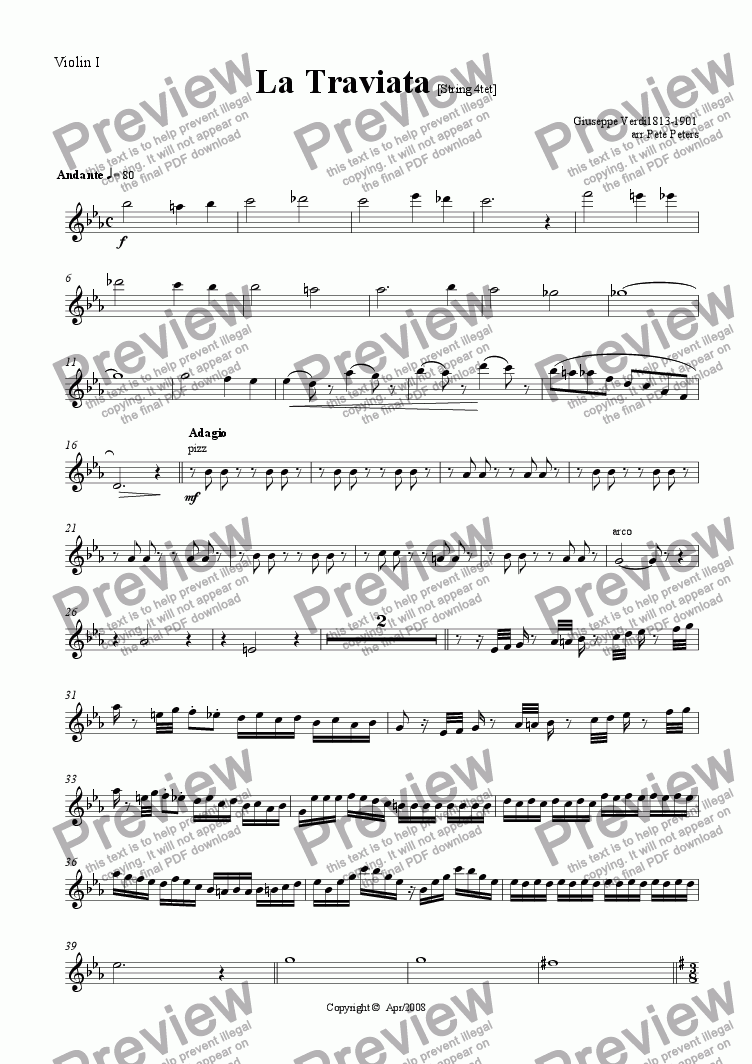 page one of the Violin 1 part from La Traviata  [String 5tet]